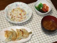 8/29 夕食 餃子、オクラキムチもずく酢、チャーハン、枝豆みそ汁
