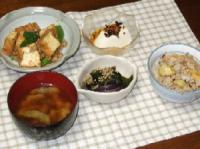 9/2 夕食 厚揚げとオクラのカレー炒め、蒸し茄子とワカメのポン酢和え、冷や奴、枝豆のみそ汁、栗入り炊き込みご飯