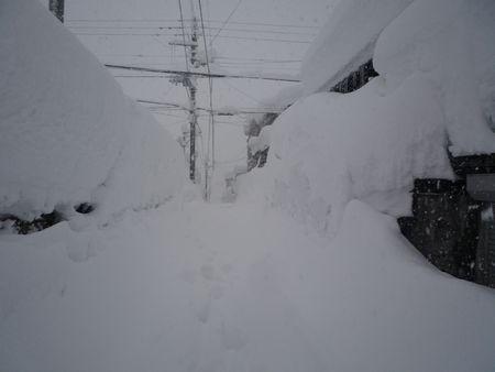 雪に埋もれた町