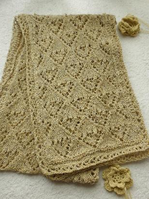 絹つむぎ糸の渋黄ストール2
