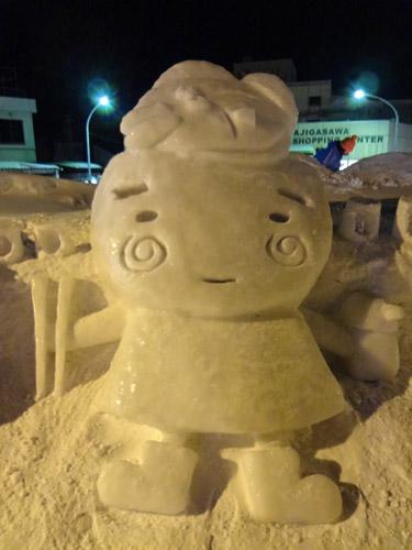 ヒラメとヅケどん雪像