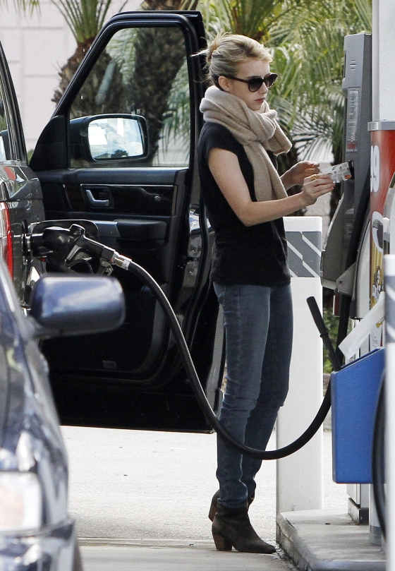 Emma Roberts Pumps Gas in West Hollywood
