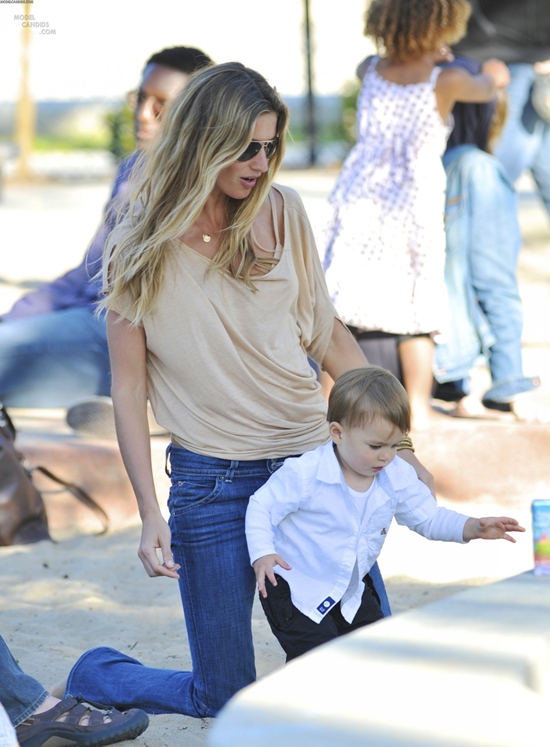 Gisele Bundchen spends an afternoon with her son & step-son