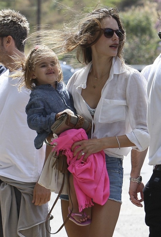Alessandra Ambrosio having a Blast with her family at the beach