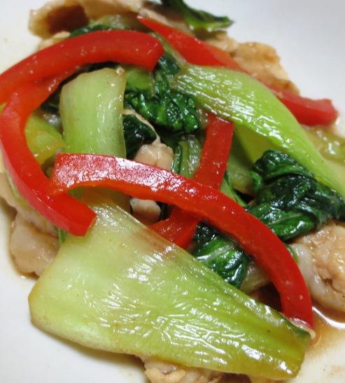 青梗菜と豚肉の炒め大