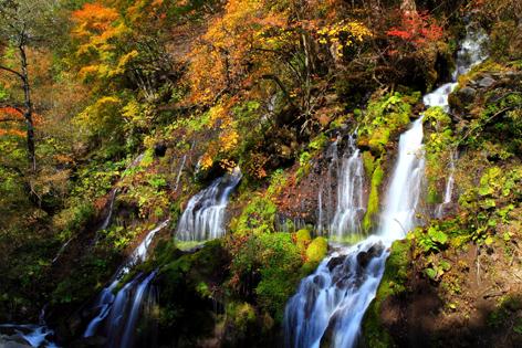 錦秋の吐竜ノ滝