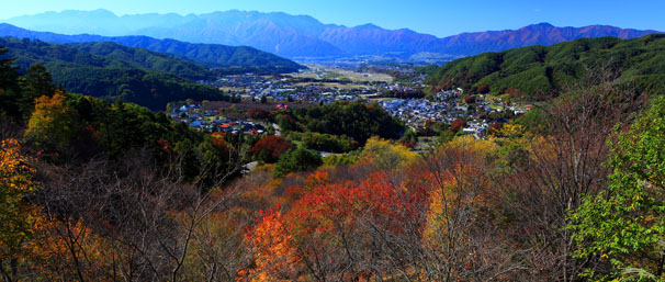 錦秋の高遠市街と西駒ヶ岳