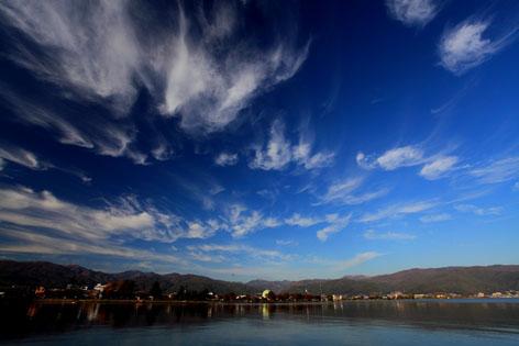 巻き雲踊る諏訪湖