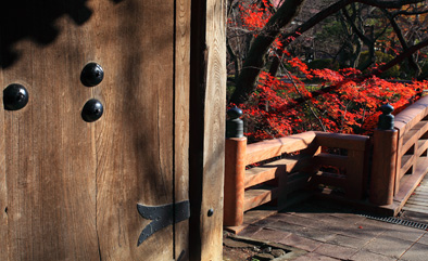 問屋門の扉と橋とモミジ