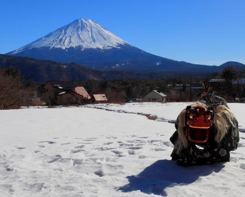 獅子舞と霊峰富士
