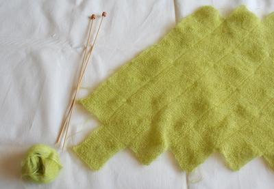 モヘア編み地