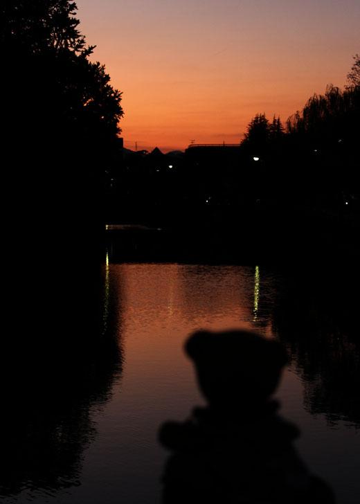 北御門橋から夕景くまピン外し 111027