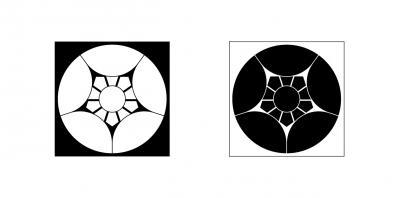 割り梅鉢(白黒)