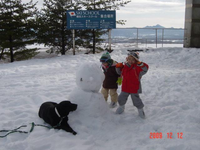 雪だるま&黒ラブ