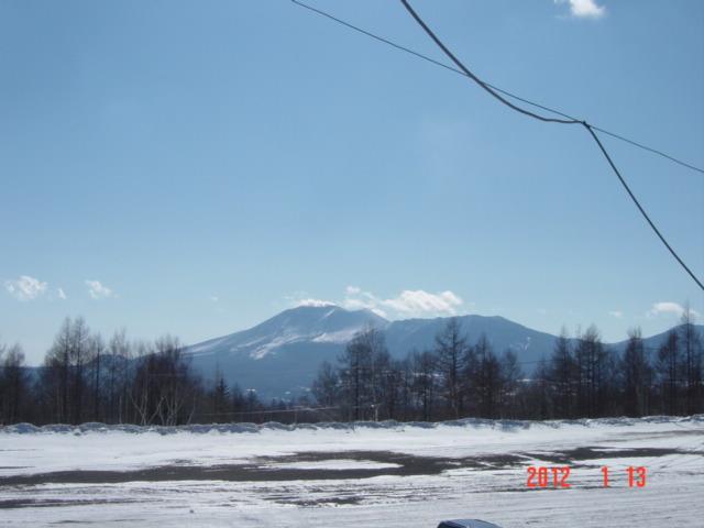 1月13日、嬬恋スキー場よりの浅間山