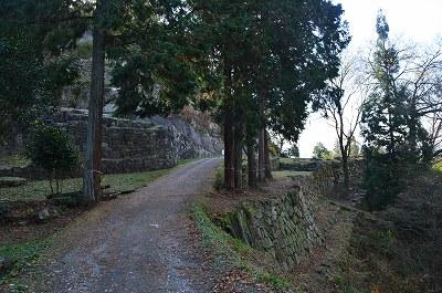 石垣が豊富に残る道