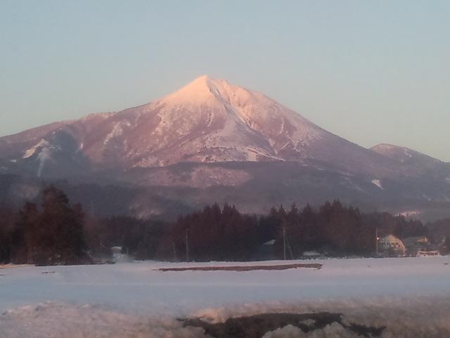 夕焼けの磐梯山