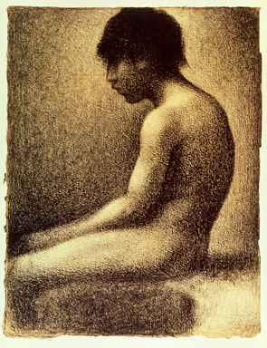 Georges Seurat Seated Nude- Study for Une Baignade 1883 Conte crayon on cream paper