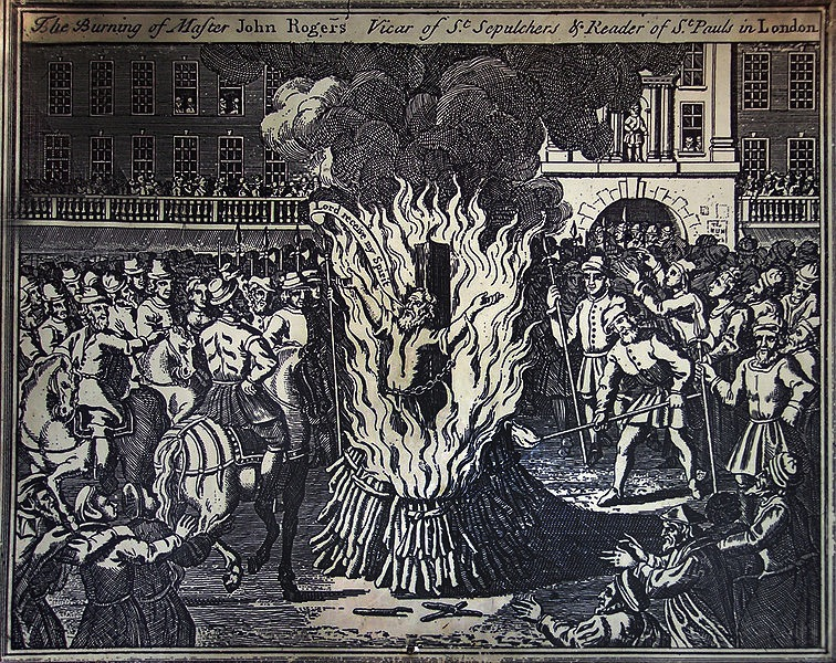Illustration in Foxes Book of Martyrs of Rogers execution at Smithfield(1684)