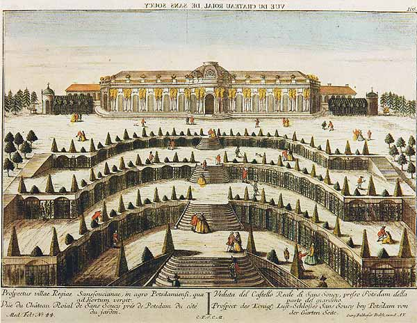 サンスーシ宮殿庭園正面図(1747)