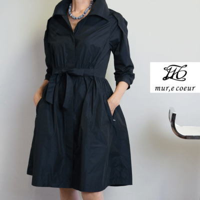 ミュールクールのふんわり襟のコートドレス