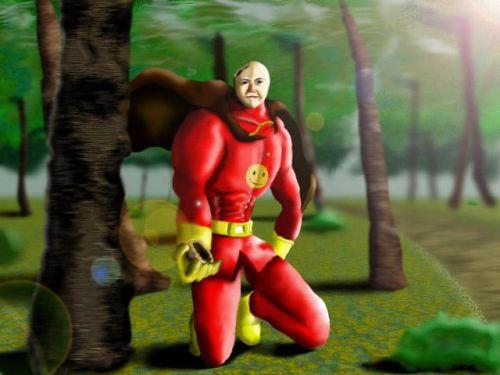 アンパンを分け与えるヒーロー