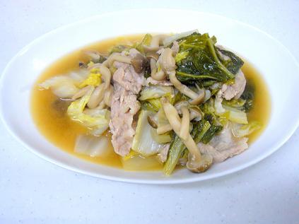 白菜と豚肉の胡麻ダレ煮