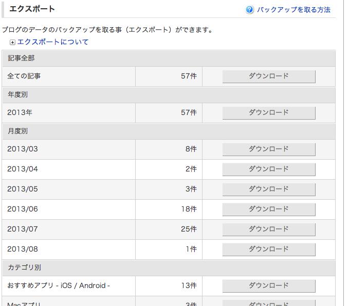 FC2ブログ バックアップ画面