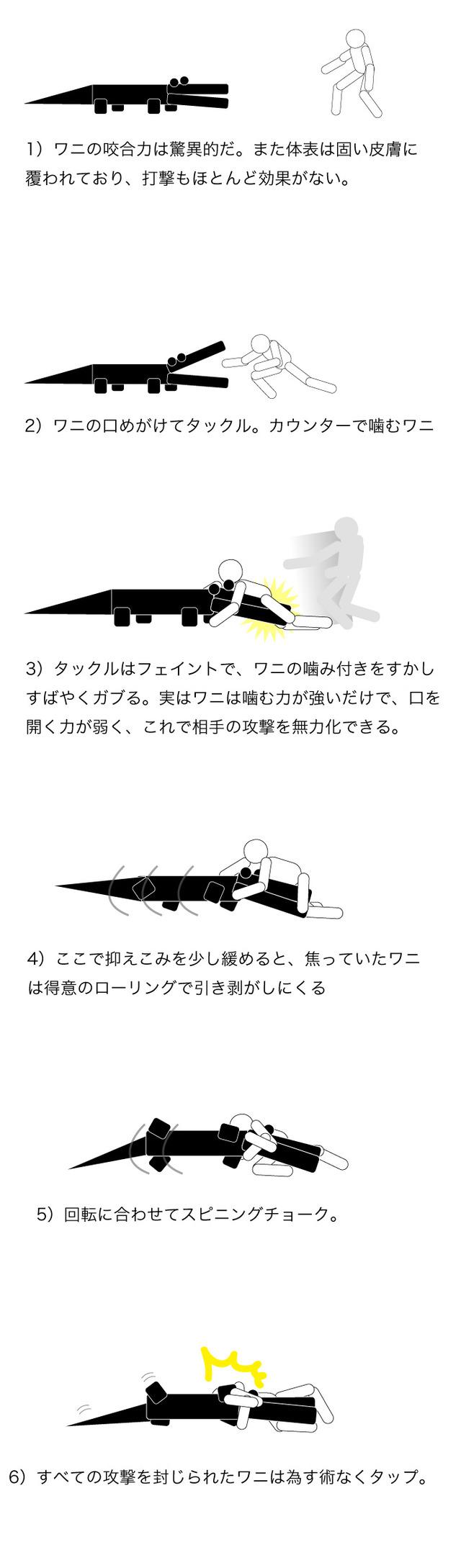 ワニとの戦闘方法