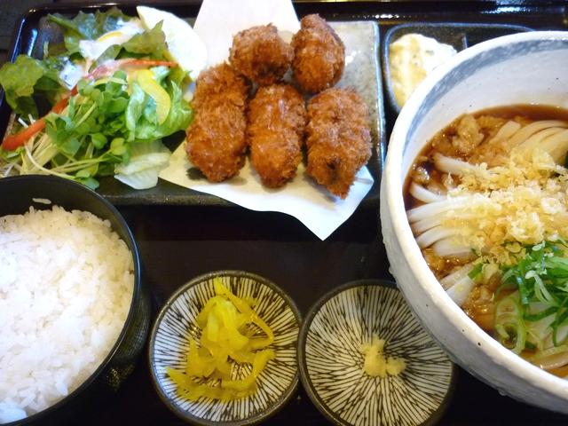 カキフライセット(冷うどん)