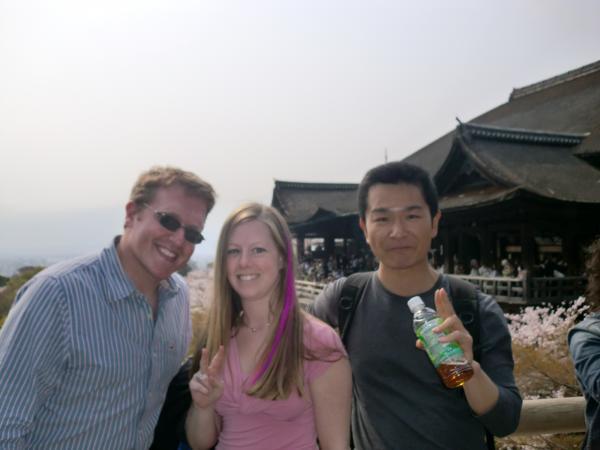 カウチサーフィン(アメリカ、アダムとケーシーと私)、清水寺にて。