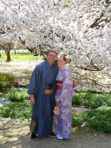 カウチサーフィン(アメリカ、ケーシーとアダム)、京都御所のしだれ桜