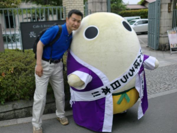 カウチサーフィン(私)、京都観光のマスコットキャラクター「まゆまろ」と