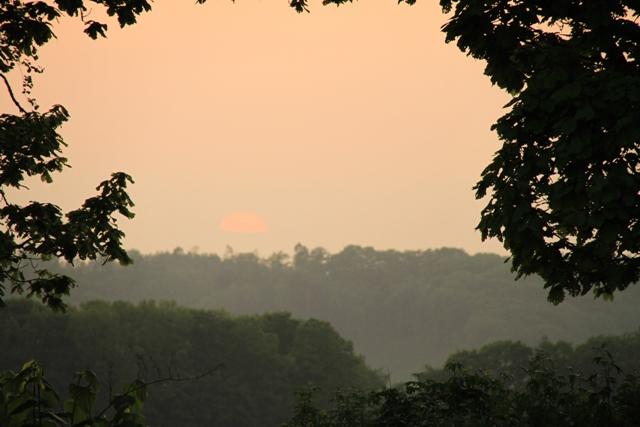 129夕陽が半分沈む