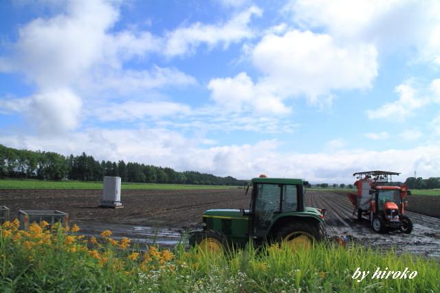 004ジャガイモ堀を待つ農機