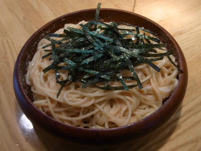 タラコとイカのスパゲティ大盛り