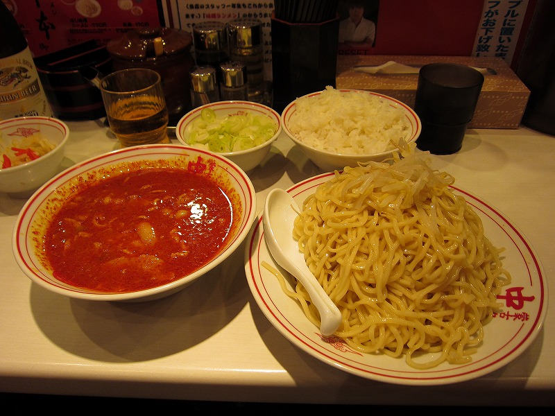 冷し味噌ラーメン 麺超大盛 葱 ライス ¥770+¥160+¥60+¥160