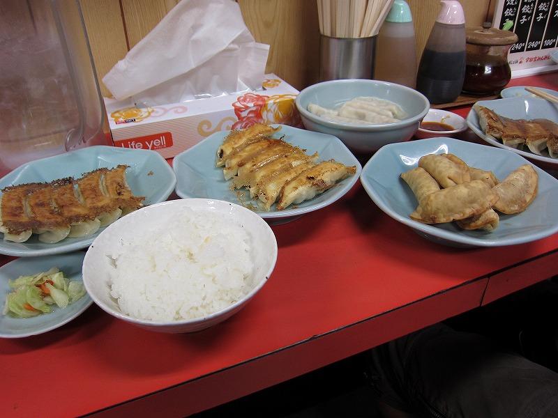 焼餃子×2 揚餃子 水餃子 ライス ¥240×2 + ¥240 + ¥240 + ¥100