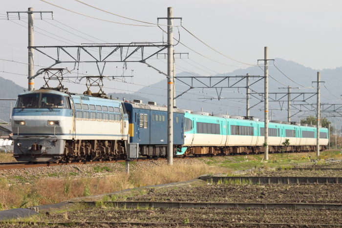 EF66 112(吹)+クモヤ145+283系(安土ー近江八幡)