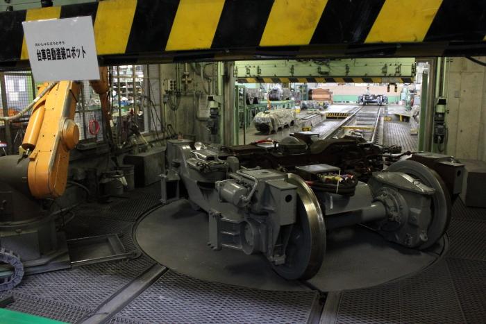 台車塗装ロボット作業実演(動きだけ)