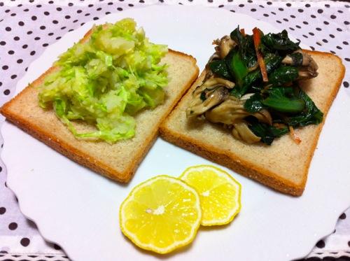 1小松菜&キャベツのサンドイッチ