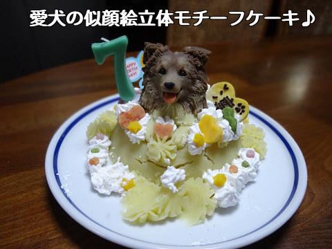 愛犬の似顔絵立体モチーフケーキ♪わん1頭のせ_凛