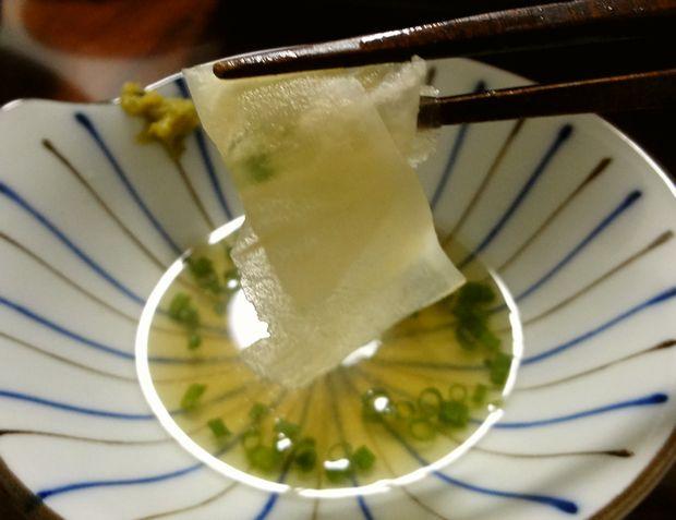 「豚しゃぶ蕎麦鍋」11(煮えた大根)