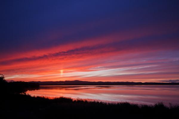網走湖の夕焼け