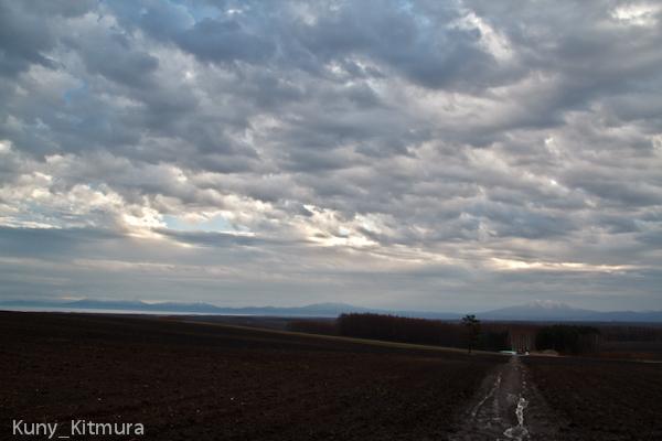 畑からの知床の山々