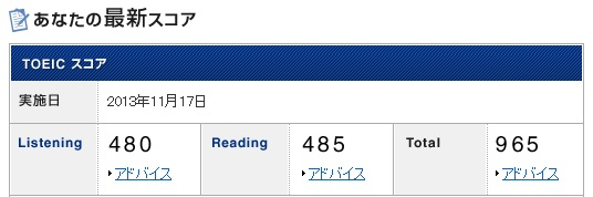 TOEIC結果201311