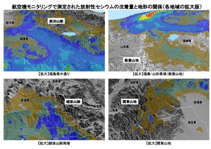 セシウムの沈着量と地形の関係2