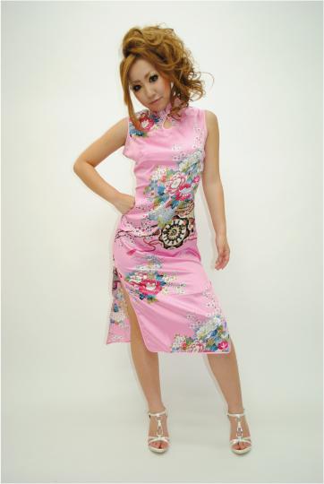 サテン チャイナ ミディアムドレス