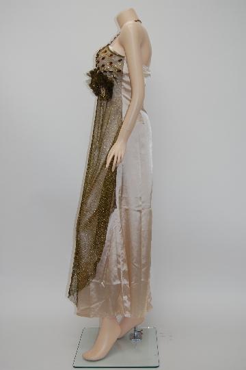 ビーズ ホルターネック お花付き ロングドレス