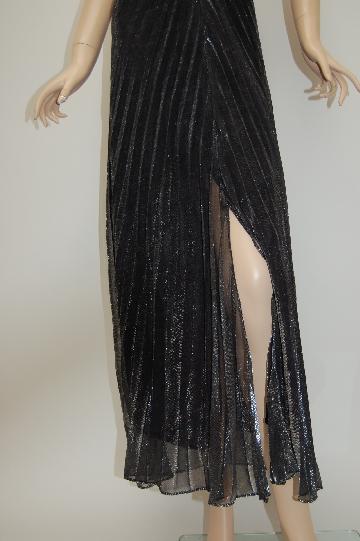 ふわ生地シャーリング ロングドレス